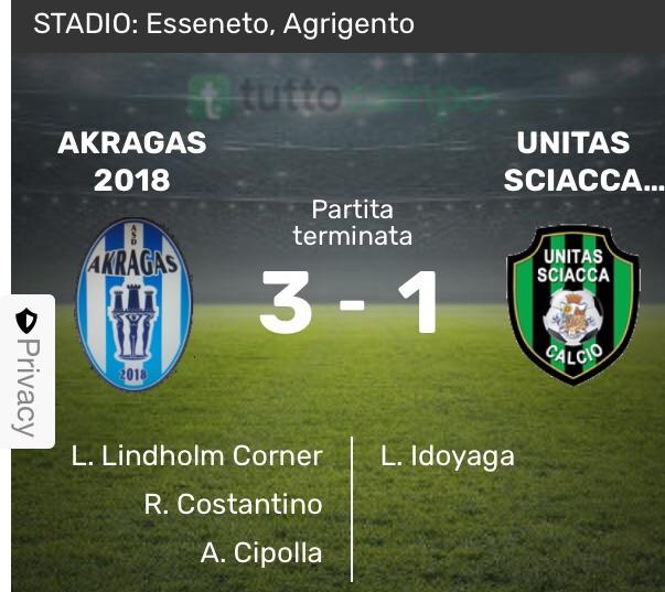 Akragas Sciacca 3-1 prima vittoria in campionato